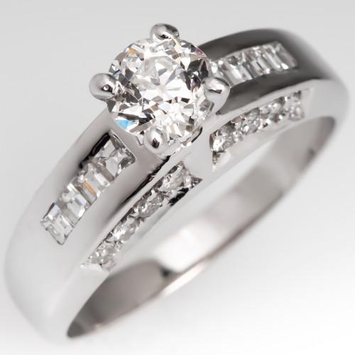 Heirloom Old Mine Cut Diamond Engagement Ring 14K White Gold