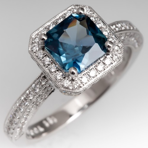 Simon G Teal Colored Sapphire Engagement Ring 18K White Gold w/Diamonds