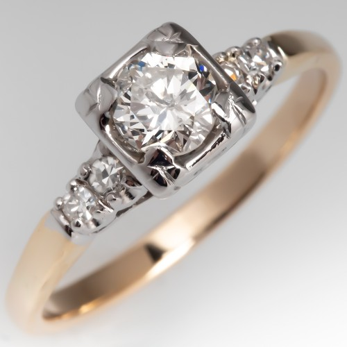 Beautiful Vintage Diamond Engagement Ring 14K Gold 1950's