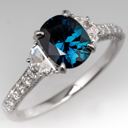 Vivid Peacock Color Sapphire & Diamond Ring 18K White Gold