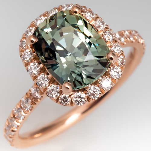 Pastel Green Sapphire Engagement Ring w/ Rose Gold Diamond Halo