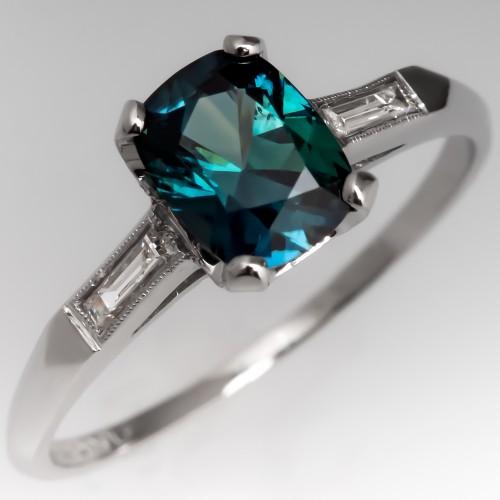 Cushion Cut Peacock Sapphire in Vintage Diamond Mounting Platinum
