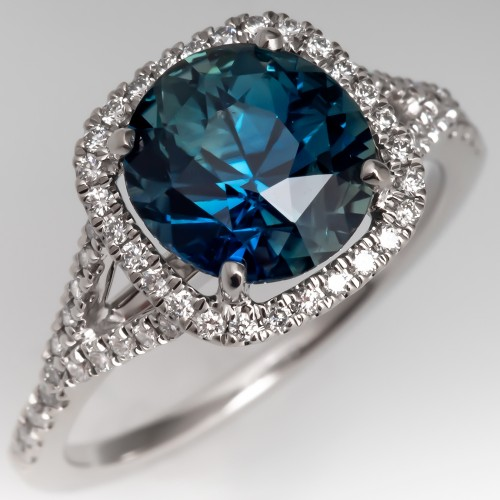 Beautiful Natural Teal Colored Sapphire & Diamond Ring 18K White Gold