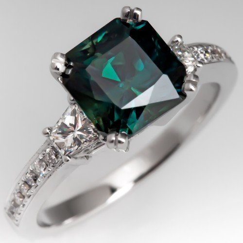 Square Cut Teal Sapphire Ring Diamond 14K White Gold Natalie K Mounting