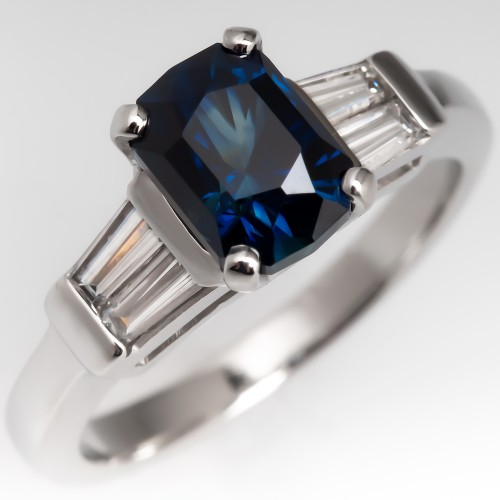 Vivid Greenish Blue Sapphire & Tapered Baguette Diamond Ring Platinum