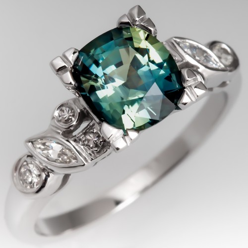 Bright Bluish-Green Sapphire in Vintage 14K White Gold Diamond Mounting
