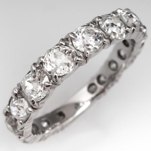 Old Cut Diamond Band Ring 14K White Gold