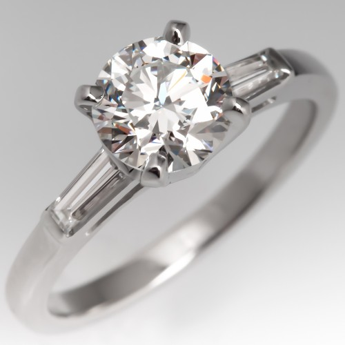 Classic Vintage Diamond Engagement Ring w/Tapered Baguette Platinum GIA