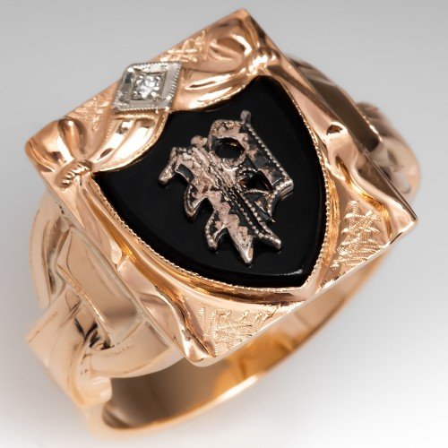 Antique Mens P Initial Onyx & Diamond Ring 10K Gold
