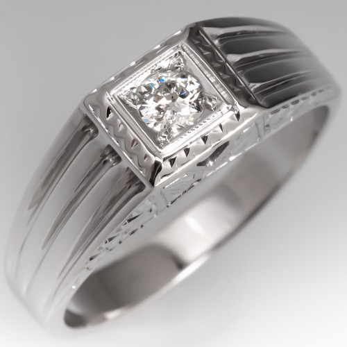 Antique Mens Diamond Wedding Ring 18K White Gold