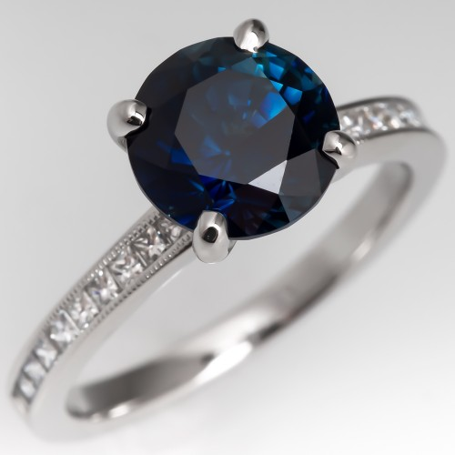 Deep Teal Sapphire Engagement Ring 14K White Gold w/ Diamonds