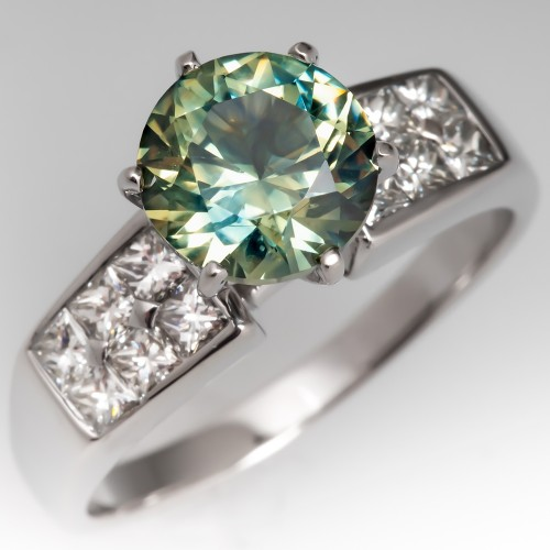 Bi Color No Heat Green Sapphire & Diamond Ring 14K White Gold