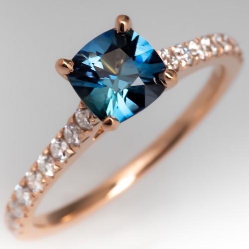 Cushion Cut Bright Teal Sapphire & Diamond Engagement Ring 14K Rose Gold