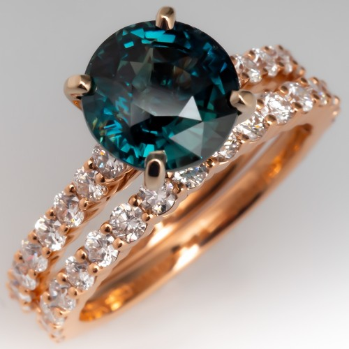 Teal Green Blue Sapphire & Diamond Engagement Ring Bridal Set 14K Rose Gold