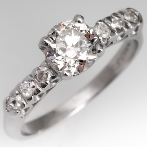 GIA Cert Vintage Diamond Engagement Ring Platinum