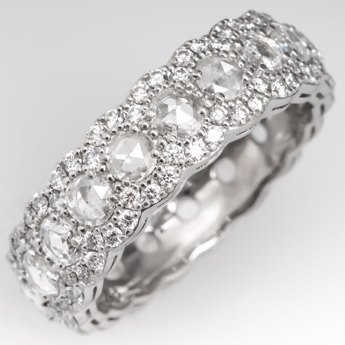 Tiffany & Co Cobblestone Band Ring Platinum Rose Cut Diamonds Size 6.5