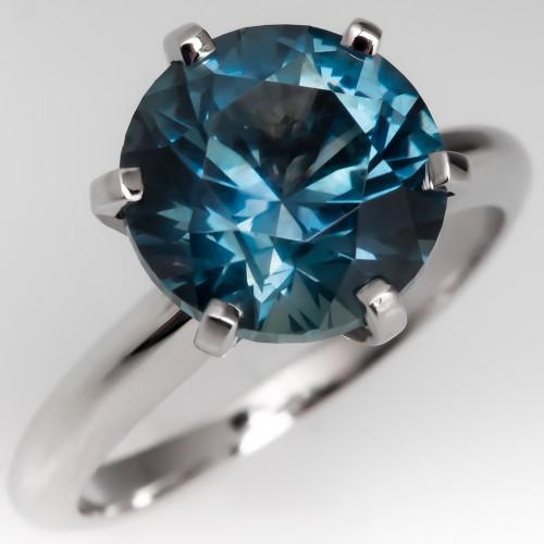 4 Carat No Heat Montana Sapphire Solitaire Ring Platinum