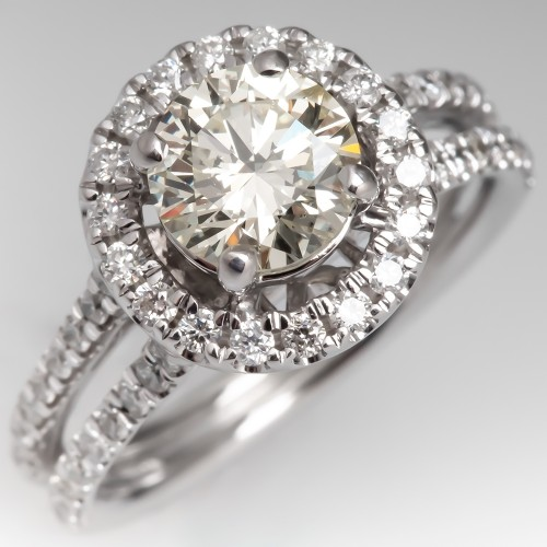 Halo Diamond Engagement Ring w/ Split Shank 14K White Gold