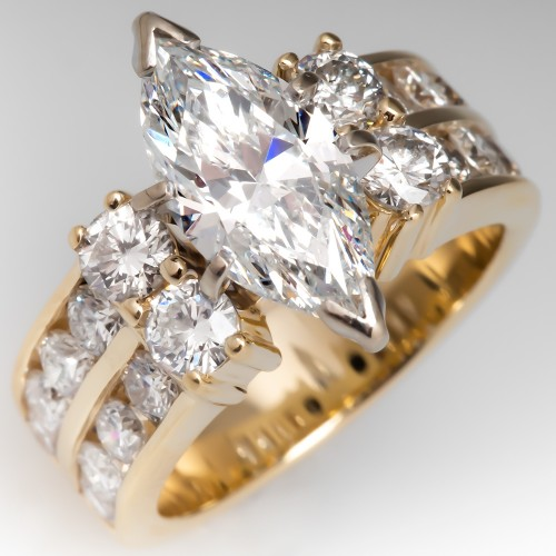 2 Carat Marquise Cut Diamond Ring 14K Yellow Gold Wide Band