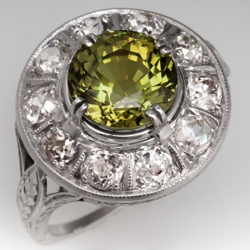 Magnificent Natural Alexandrite Chrysoberyl 1920's Art Deco Mounting