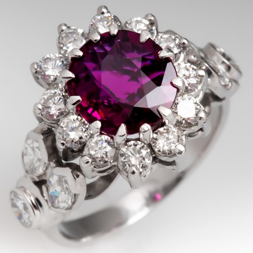 Vintage Ruby & Diamond Halo Ring 18K White Gold