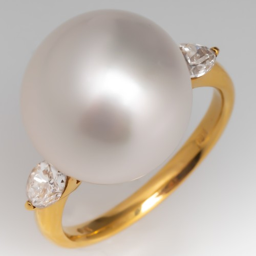 Giant South Sea Pearl & Marquise Diamond Ring 18K Yellow Gold