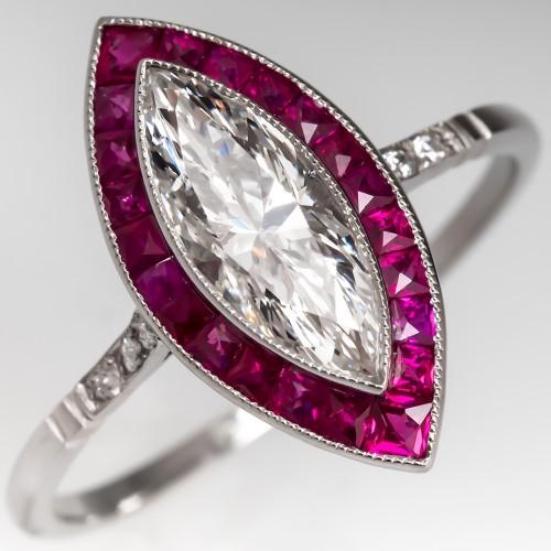 Beautiful Marquise Cut Diamond w/ Ruby Halo Ring Platinum