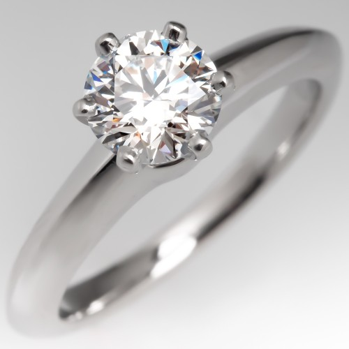 Tiffany & Co Classic Solitaire Engagement Ring 6-Prong .72CT F/VS2