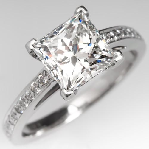 2 Carat Princess Cut Diamond Tiffany & Co Engagement Ring H/VS2