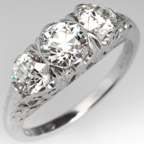 Circa 1925 Antique Orange Blossom Three Stone Diamond Ring