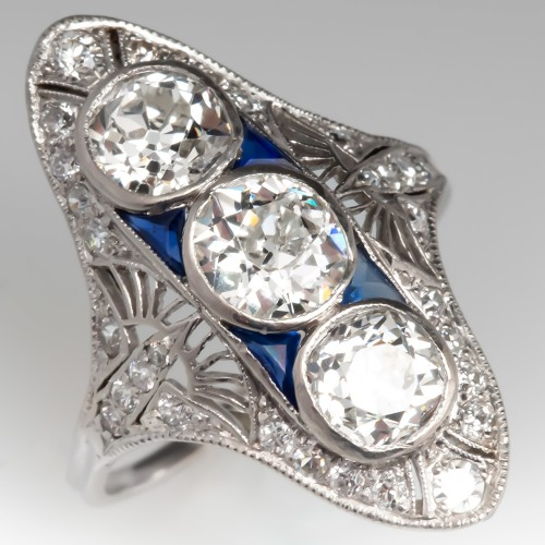 1910's Edwardian Three Stone Diamond Dinner Ring