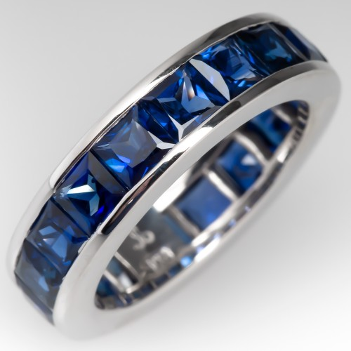 Natural Bright Blue Sapphire Eternity Band 18K White Gold size 4.75