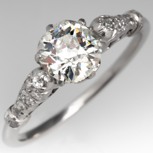 1920's Antique Old Mine Cut Diamond Engagement Ring Platinum