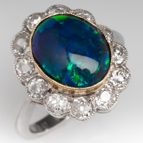Natural Black Opal & Old Cut Diamond Halo Cocktail Ring