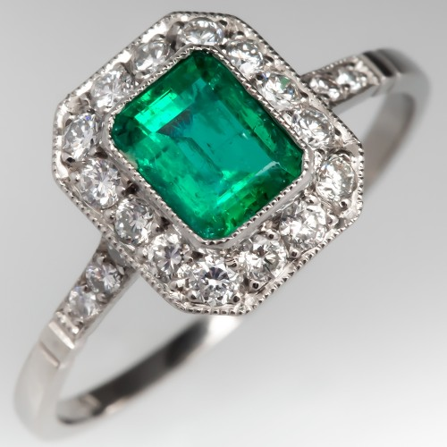 Vibrant Green Emerald & Diamond Halo Engagement Ring Platinum