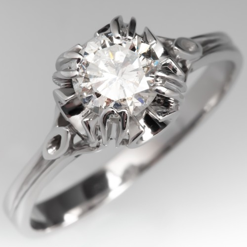 Unique Diamond Solitaire Engagement Ring 18K White Gold