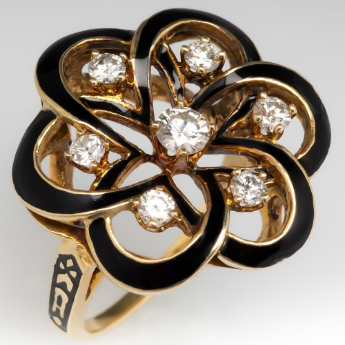 1960's Victorian Revival Ring w/Black Enamel & Diamonds 14K Gold