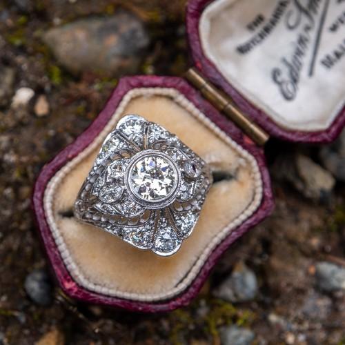 Antique Filigree Old Euro Diamond Engagement Ring Platinum 1910's