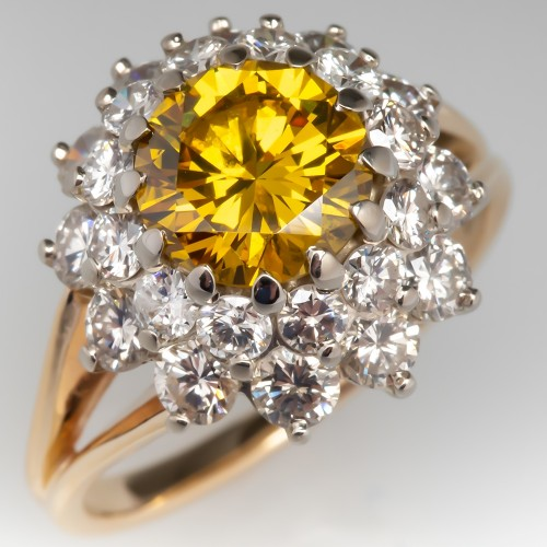 Irradiated Yellow Diamond Cluster Cocktail Ring 14K Yellow Gold