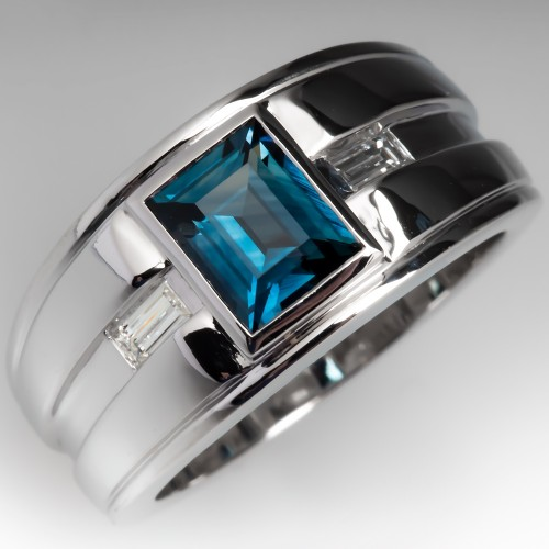 Mens Rectangle Cut Blue-Green Sapphire Ring 14K White Gold