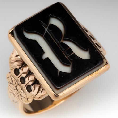 Victorian Era Mens R Signet Ring Sardonyx 10K Gold