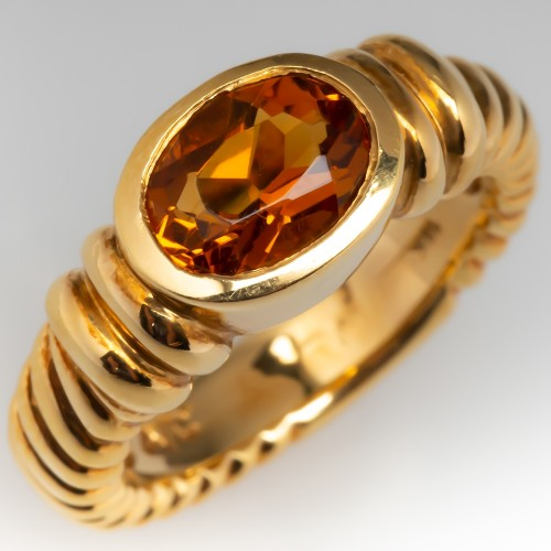 November Birthstone Citrine Gemstone Ring 18K Yellow Gold