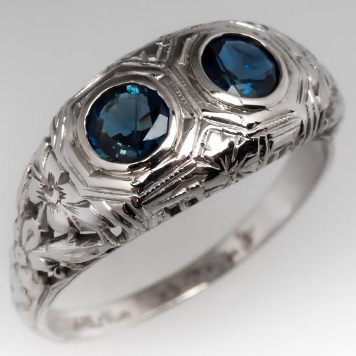 Antique Toi Et Moi Blue Sapphire Filigree Ring 18K White Gold