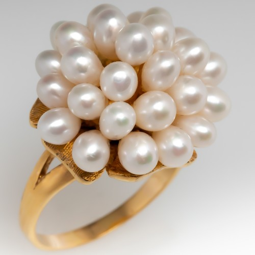Vintage Pearl Cluster Cocktail Ring 14K Yellow Gold