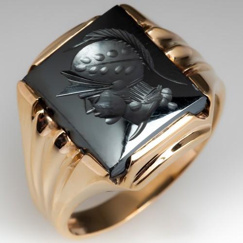 Vintage Mens Soldier Intaglio Hematite Ring 10K Gold