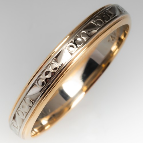 4mm Wide Mens 2 Tone 14K Gold Patterned Wedding Band Size 12.25