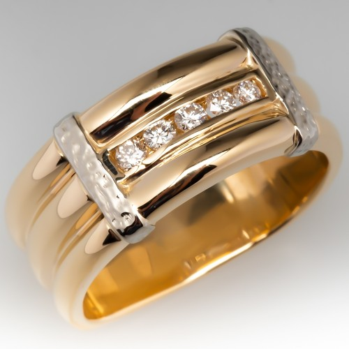 Wide Band 2-Toned Diamond Ring 14K Gold Squared Euro Shank Size 9