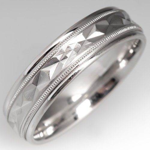 Estate Patterned 14K White Gold Mens Wedding Band Size 10 Comfort Fit