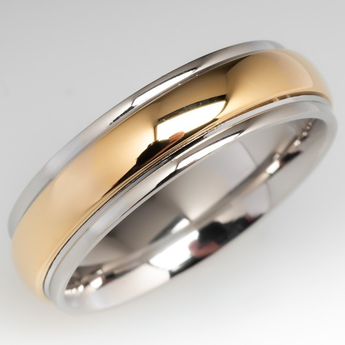 Benchmark Comfort Fit Mens Wedding Band Platinum 18K Gold Size 8.5