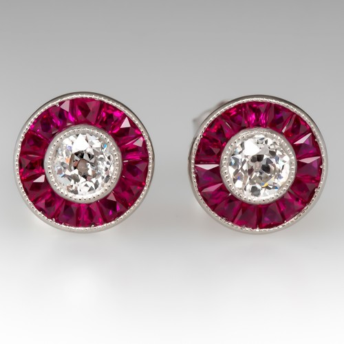 Old European Cut Diamond & Ruby Halo Stud Earrings Platinum